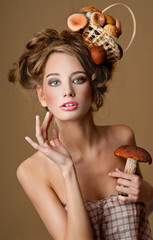 woman with a basket of mushrooms