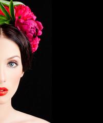 Girl in a wreath of flowers