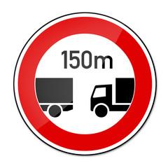 Verbotsschild RAL 3001 signalrot - LKW Abstand 150m
