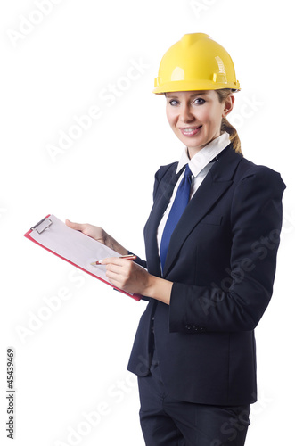 Businesswoman with helmet on white