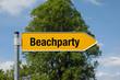 Pfeil mit Baum BEACHPARTY