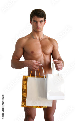 Young Sexy Man with Shopping Bags