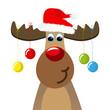 Elch mit Weihnachtskugeln