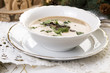 Traditional polish mushroom soup with cream and vegetables