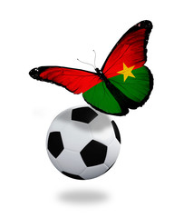Concept - butterfly with Burkina Faso flag flying near the ball,