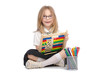 Small girl with abacus on white