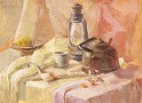 Still life with lantern, teapot  and wooden spoon gouache painti
