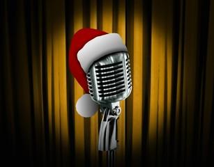 Retro microphone and Santa hat