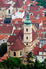 Roofs and church of Prague