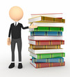 Color 3d person with  books
