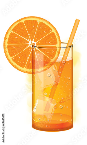 Cocktail with orange juice and ice cubes on white background. - 45445681