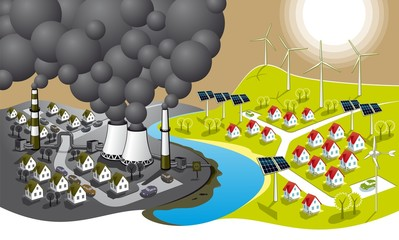 Two cities - dirty and clean renewable energy.