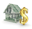 Golden dollar sign and small house.