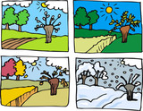four seasons cartoon illustration