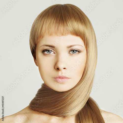 Woman, blond hair beauty salon background