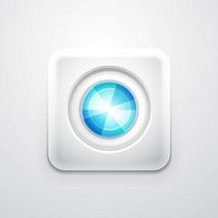Abstract colorful circle on white square shape. Mobile app icon