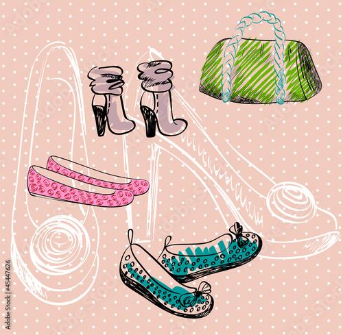 Fashion  shoes and bag. Hand drawn illustration. - 45447626