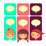 Cute girls with speech bubbles (vector version)