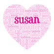 """SUSAN"" Tag Cloud (birth girl love valentine card heart)"