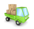 Green truck with a carton boxes.