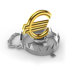 Golden euro sign on a trap.