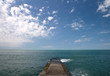 Concrete pier on Black Sea coast. Russia, Sochi, Adler.