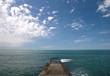 Concrete pier on Black Sea coast. Russia, Sochi, Adler.