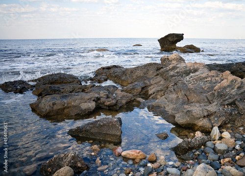 Stones on the coast of Mediterranean Sea in Turkey