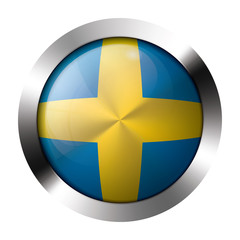 Metal and glass button - flag of sweden - europe
