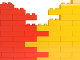 Fototapety wall from color plastic blocks