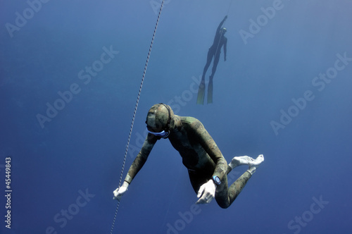 Different stages of freediving training