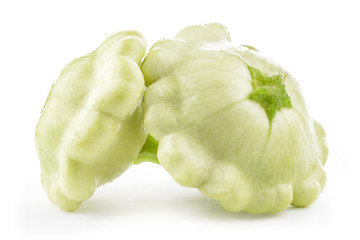 Two types of Patty pan Squash on white background