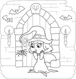 Coloring Halloween little witch in creepy house