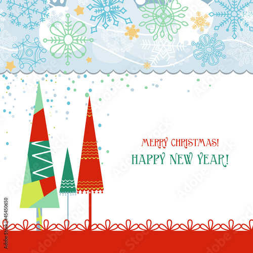 Christmas trees card in traditional colors over white