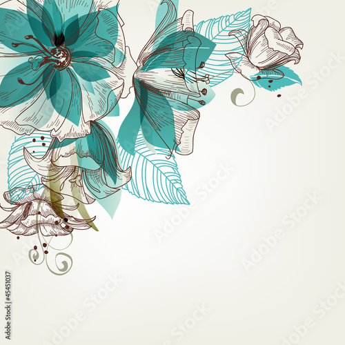 In de dag Abstract bloemen Retro flowers vector illustration