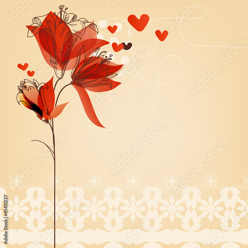 Tuinposter Abstract bloemen Love floral background