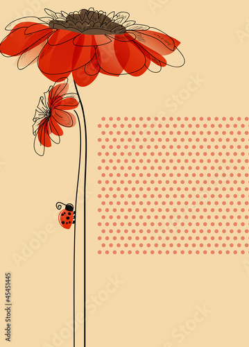 In de dag Abstract bloemen Elegant vector card with flowers and cute ladybug