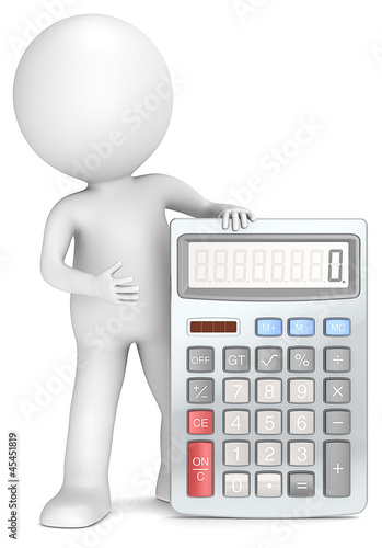 Calculator. 3D little human character with a Calculator.