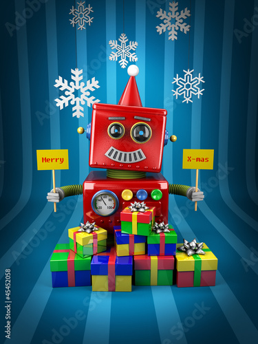 Merry Christmas Robot with lots of presents