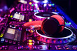 canvas print picture - Dj mixer with headphones