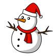 Christmas Snowman Hand writing cartoon.