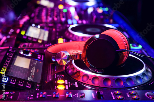 canvas print picture Dj mixer with headphones