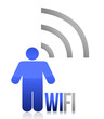 Blue wifi person icon illustration design