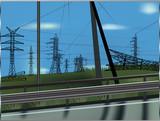landscape with hight voltahe pylons poster