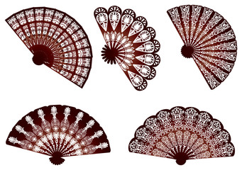 five brown decorated fans isolated on white