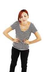 Teen woman with stomach issues on white background