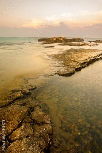 Reefs on Adriatic Sea at Sunset