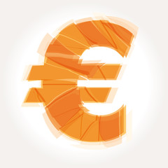 cracked euro symbol vector