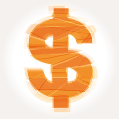 cracked dollar symbol vector
