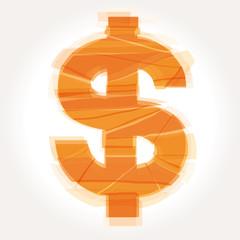 cracked dollar symbol vector